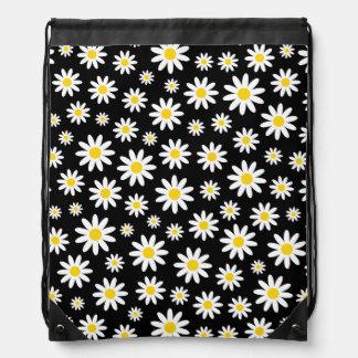 Big White Daisies on Black Drawstring Backpack