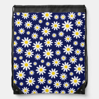 Big White Daisies on Navy Blue Drawstring Backpack