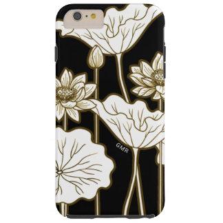 Big White Flowers on Black with Khaki Trim Tough iPhone 6 Plus Case