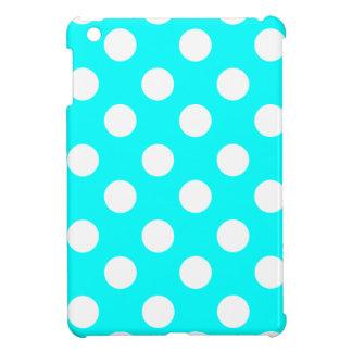 Big White Polka Dots on Aqua iPad Mini Case