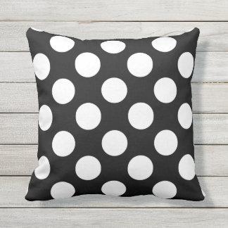 Big White Polka Dots on Black Outdoor Throw Pillow