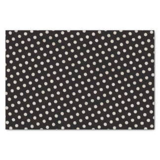 Big White Polka Dots on Black Tissue Paper