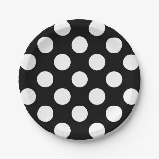 Big White Polka Dots on Raven Black Paper Plate