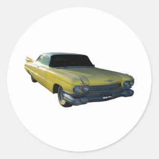Big Yellow Fin 59 Cadillac Round Sticker