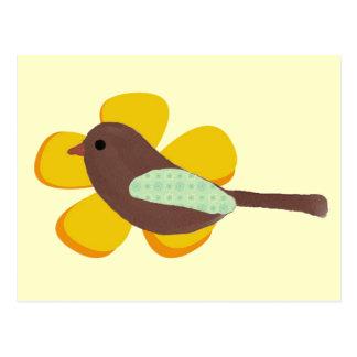 Big Yellow Flower and Little Brown Bird Postcard