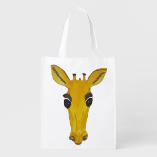 Big Yellow Giraffe Face bags Grocery Bags