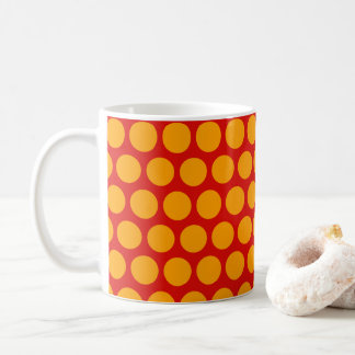 Big yellow polka dots on red background - colorful coffee mug