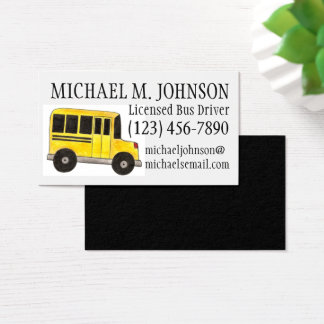 Big Yellow School Bus Driver Teacher Education Business Card