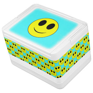Big Yellow Smiley, Aqua-12 can Igloo Cooler