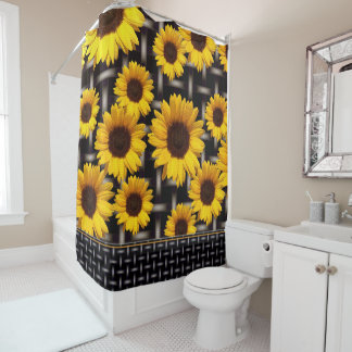Big Yellow Sunflower Industrial Grid Weave Pattern