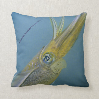 Bigfin reef squid, Sepioteuthis lessoniana, Throw Pillow