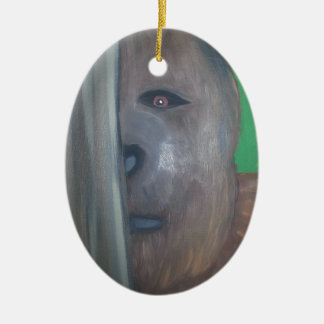 Bigfoot behind tree.jpg ceramic ornament