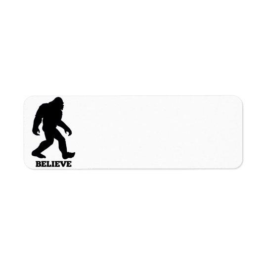 Bigfoot BELIEVE Sasquatch Return Address Label