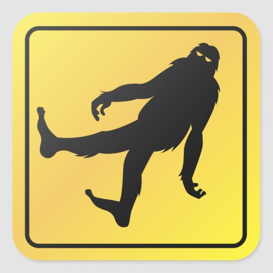 Bigfoot Crossing Square Sticker