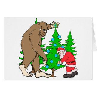 Bigfoot et Noël de Père Noël Carte De Vœux
