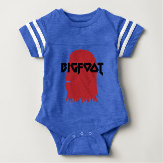 Bigfoot Face and Text - Red and Black Stencil Baby Bodysuit