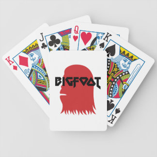 Bigfoot Face and Text - Red and Black Stencil Bicycle Playing Cards