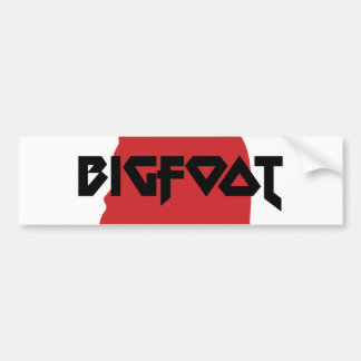 Bigfoot Face and Text - Red and Black Stencil Bumper Sticker