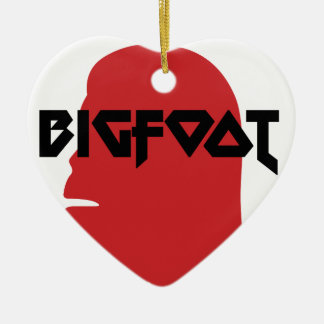 Bigfoot Face and Text - Red and Black Stencil Ceramic Ornament