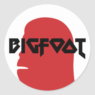 Bigfoot Face and Text - Red and Black Stencil Classic Round Sticker