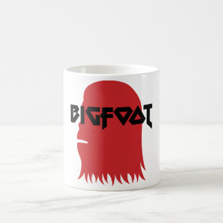 Bigfoot Face and Text - Red and Black Stencil Coffee Mug
