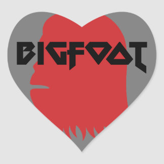 Bigfoot Face and Text - Red and Black Stencil Heart Sticker