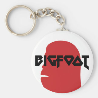 Bigfoot Face and Text - Red and Black Stencil Keychain
