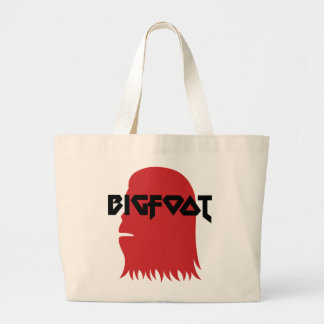 Bigfoot Face and Text - Red and Black Stencil Large Tote Bag
