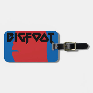 Bigfoot Face and Text - Red and Black Stencil Luggage Tag