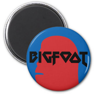 Bigfoot Face and Text - Red and Black Stencil Magnet