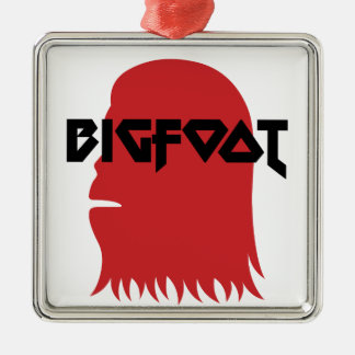 Bigfoot Face and Text - Red and Black Stencil Metal Ornament
