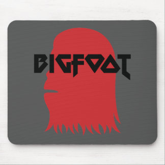 Bigfoot Face and Text - Red and Black Stencil Mouse Pad