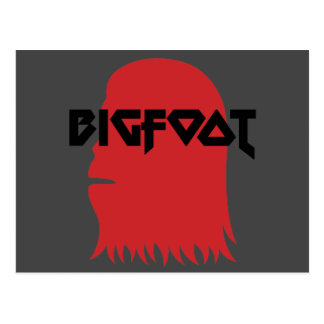 Bigfoot Face and Text - Red and Black Stencil Postcard