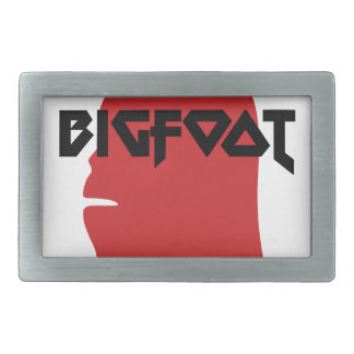 Bigfoot Face and Text - Red and Black Stencil Rectangular Belt Buckle