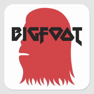 Bigfoot Face and Text - Red and Black Stencil Square Sticker