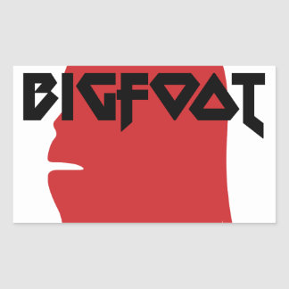 Bigfoot Face and Text - Red and Black Stencil Sticker