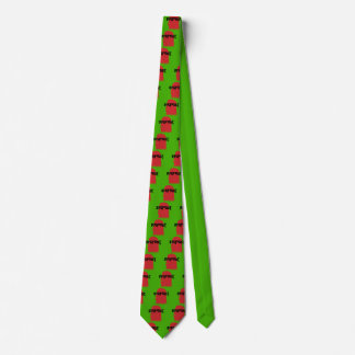 Bigfoot Face and Text - Red and Black Stencil Tie