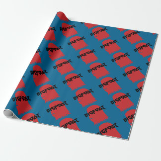 Bigfoot Face and Text - Red and Black Stencil Wrapping Paper