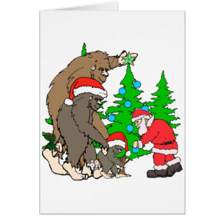 Bigfoot family  and Santa Card