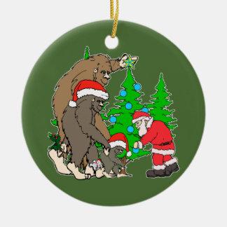 Bigfoot family  and Santa Ceramic Ornament