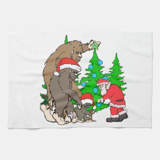 Bigfoot family  and Santa Kitchen Towel