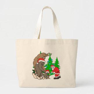 Bigfoot family  and Santa Large Tote Bag