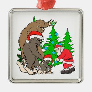 Bigfoot family  and Santa Metal Ornament