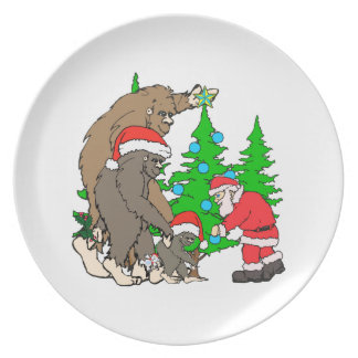 Bigfoot family  and Santa Party Plate