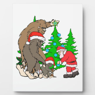 Bigfoot family  and Santa Plaque