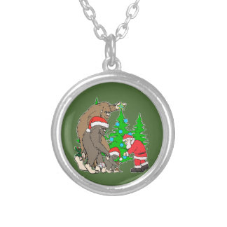 Bigfoot family  and Santa Silver Plated Necklace