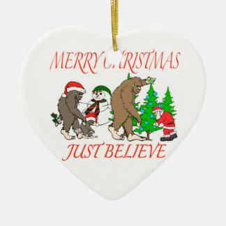 Bigfoot Family Christmas 2 Ceramic Ornament