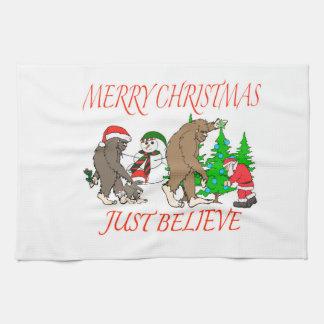 Bigfoot Family Christmas 2 Hand Towel