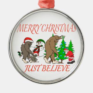 Bigfoot Family Christmas 2 Metal Ornament