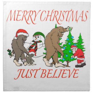 Bigfoot Family Christmas 2 Napkin